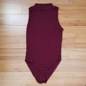Ribbed High-Neck Bodysuit
